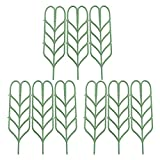 Pannow DIY Garden Trellis Garden Plant Growing Support Mini Garden Trellis Climbing Potted Plants, Flowers - Leaf Shape, Green size 3Set / 9pcs