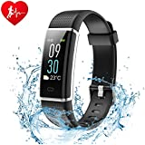 Ginsy Fitness Tracker, Smart Watch with Slim Color Touch Screen Activity Tracker Heart Rate Monitor IP67 Waterproof Bluetooth Pedometer Sleep Monitor for Android and iOS (Black)