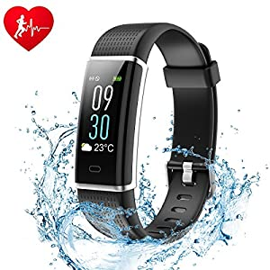 Ginsy Fitness Tracker, Smart Watch with Slim Color Touch Screen Activity Tracker Heart Rate Monitor IP67 Waterproof Bluetooth Pedometer Sleep Monitor for Android and iOS 51KHQSo6QnL