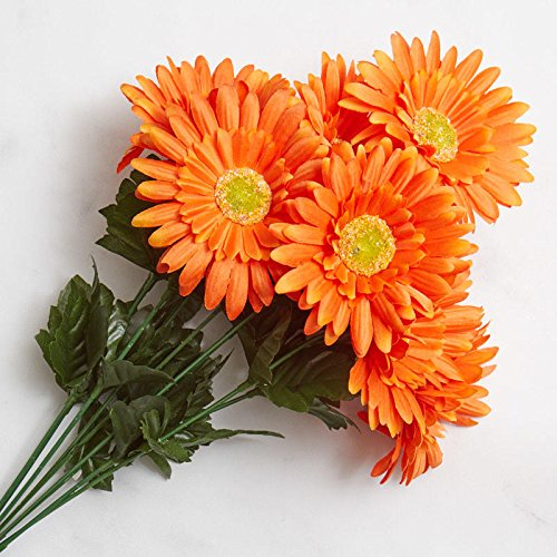 Factory Direct Craft Orange Poly Silk Artificial Gerbera Daisy Bush for Indoor (Gerbera Daisy Bush)