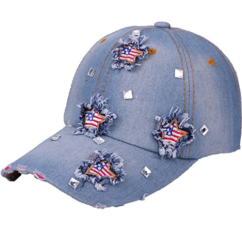 CRUOXIBB USA Bling Baseball Cap Sparkle American Flag Hat Men Women Hip Hop Caps