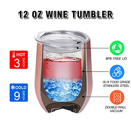 Stainless Steel Stemless Wine Tumbler, 4 Pack 12oz Double Insulated Wine Glasses with Lid for Champagne, Cocktail, Beer, Coffee, Drinks - Funny Unique Gifts Idea for Family\'s, Rose Gold