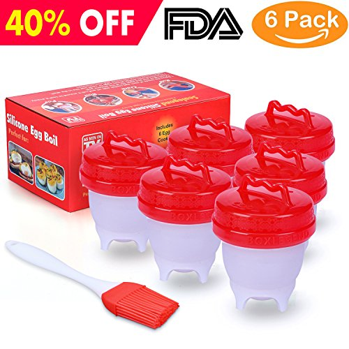 BoxLegend Egg Cooker Cups Hard Boiled Egg Maker Nonstick Silicone Eggs Boiler Cookers Without Egg Shell -Upgrade 6 Packs
