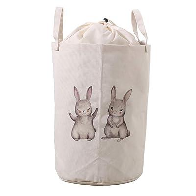 LifeCustomize Large Laundry Hamper Basket Bunny Shy Rabbit Animals Clothing Storage Bins Boxes Toy Organizer Foldable Waterproof Nursery Hamper with Handles : Baby