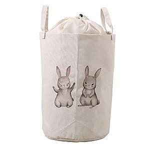 LifeCustomize Large Laundry Hamper Basket Bunny Shy Rabbit Animals Clothing Storage Bins Boxes Toy Organizer Foldable Waterproof Nursery Hamper with Handles