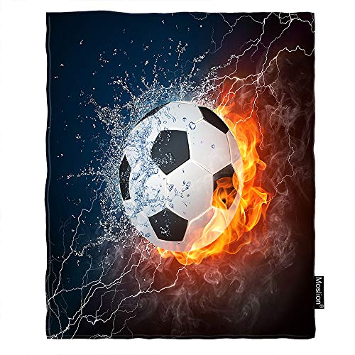 (Moslion Soccer Throw Blanket Sport Football in Burning Fire and Water Spark Lightening Circle Game Blanket Home Decorative Flannel Warm Travel Blankets 30x40 Inch for Pet Dog Cat)