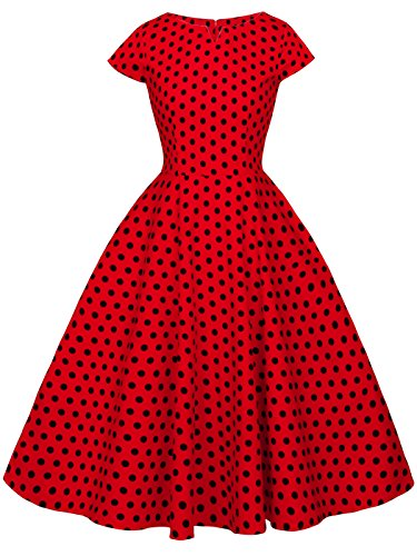 (FAIRY COUPLE Vintage Rockabilly Cap Sleeves Prom Dress 3XL Red Small Black)