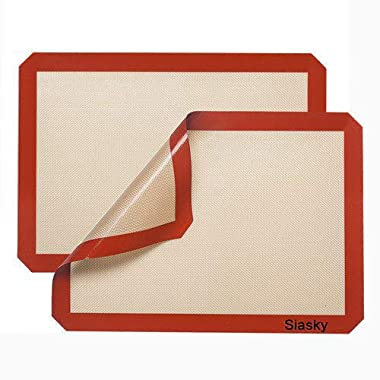 "Siasky COMINHKPR107797 Silicone Non Stick Baking Mats, 16"" X 12"", Orange Red"