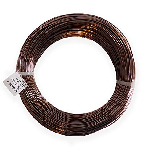 Anodized Aluminum 1.0mm Bonsai Training Wire 250g Large Roll (375 feet) - Choose Your Size Color (1.0mm, Brown)