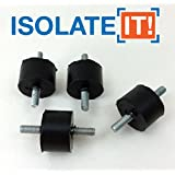 Isolate It!: Sorbothane Male/Male Vibration Stud Mount - M4 - 12.7mm (H) - 19mm (Dia) 70 Duro - 4 Pack