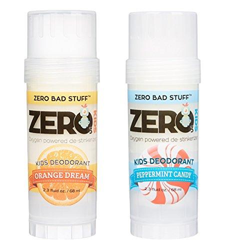 ZERO Deodorant – Oxygen Powered De-Stinkerizer – Long Lasting, All Natural, Safe for Sensitive Skin (KIDS 2-Pack)