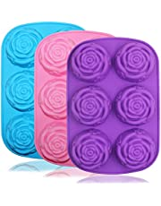Large Rose Flower Silicone Tray for Cake Bread Pudding Chocolate Muffin Soap, SENHAI 6-Cavity 3D Ice Cube Handmade Molds- Purple & Blue & Pink