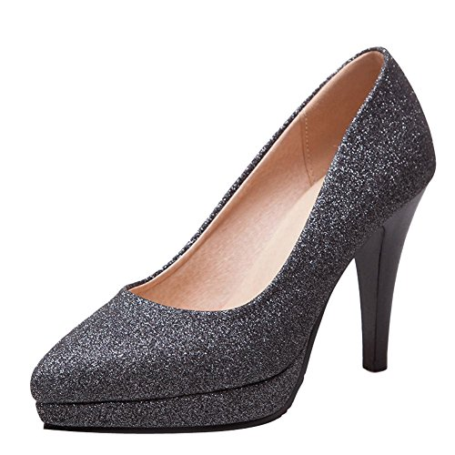 Mee Shoes Damen Pailletten Plateau slip on Pumps Schwarz