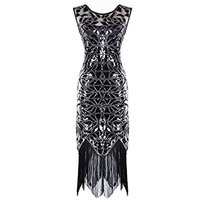 Urmine Women's Retro 1920s Gatsby Sequined Beaded Evening Party Prom Cocktail Flapper Dress
