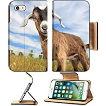 Liili Premium Apple iPhone 7 Flip Pu Leather Wallet Case IMAGE ID: 2997371 Young goat in pasture of small farm