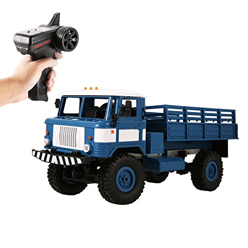 Evokem RC Cars Electric 1:16 2.4Ghz 4WD High Speed Off-Road Military Truck Car with Lights, Rechargeable 6V Battery Included ()
