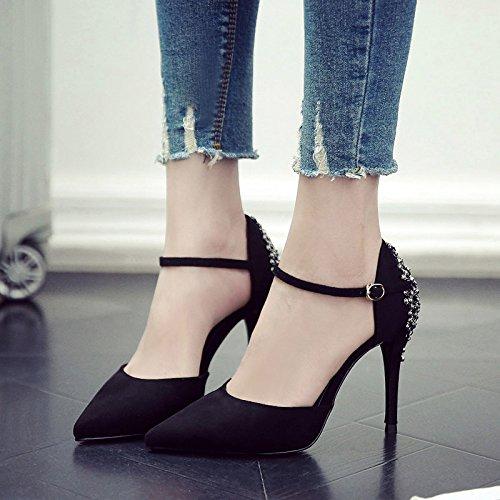 Bien Del Alto Punta Ranurados De Zapatos Único La Heel Zapatos Shoes GAOLIM Para De Mujer Muelle El Mujer Negro Con zRgB1Wc