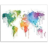 Dripping Watercolor Paint World Map - 11x14 Unframed Art Print - Great Living Room Decor and Gift for Travelers, Also Makes a Great Gift Under $15