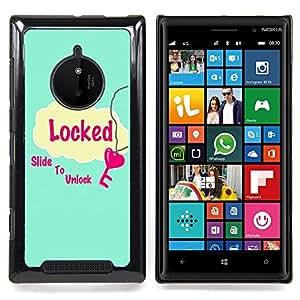 - Locked Slide To Unlock Blue Heart Pink/ Duro Snap en el tel????fono celular de la cubierta - Cao - For Nokia Lumia 830