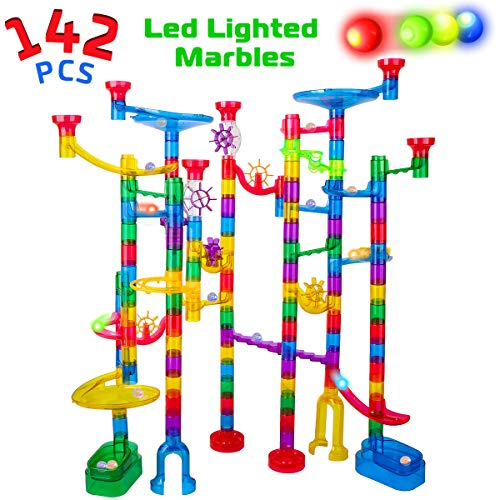 Marble Run Sets for Kids - 142Pcs Marble Race Track Marble Maze Madness Game STEM Building Tower Toy for 4 5 6 + Year Old Boys Girls(113 Pcs + 25 Glass Marbles + 4 Led Lighted Marbles) (Kids Game Marble)
