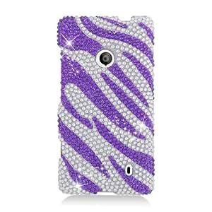 Purple Zebra Rhinestone Hard Case Cover for Nokia Lumia 521 +Pen Stylus