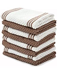 Sticky Toffee Cotton Terry Kitchen Dishcloth, Brown, 8 Pack, 12 In X 12