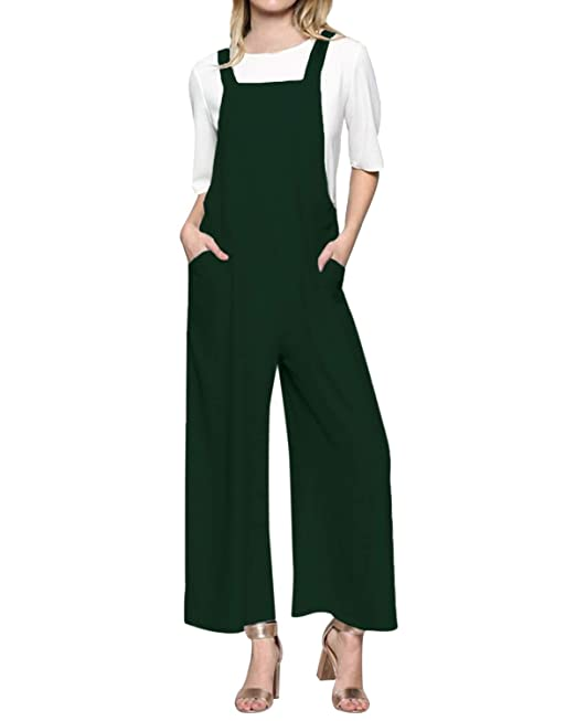 28c557703e3 Style Dome Women Jumpsuits Retro Overall Jumpsuit Casual Loose Pants with  Wide Leg Trousers Z-
