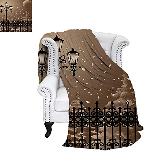 Throw Blanket Frozen Scenery Iron Fences City Evening Snow and Lanterns Full Moon Graphic Warm Microfiber All Season Blanket for Bed or Couch 90