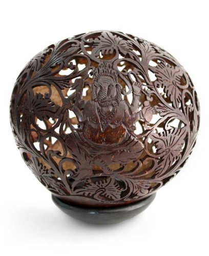 NOVICA Religious Coconut Shell Sculpture, Brown, Auspicious Ganesha'