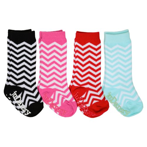 4-Pack juDanzy girls tall knee high socks Funky, Ballet, Mary Jane, Chevron for baby, toddler & girl (4-6 Years, Chevron)