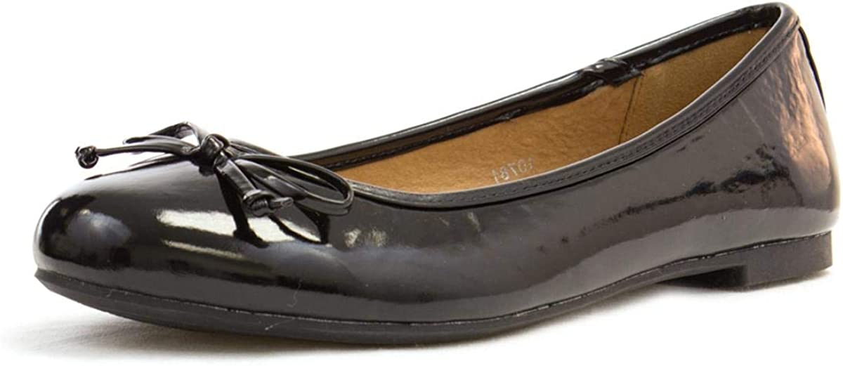 Lilley Womens Black Patent Ballerina with Bow