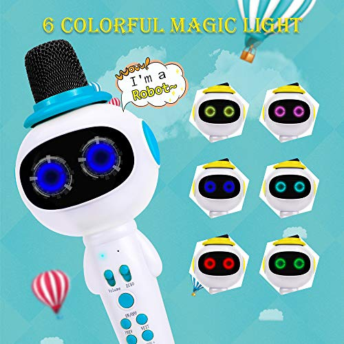 BONAOK Kids Wireless Bluetooth Karaoke Microphone with Magic Sound & Colorful LED light, 5 in 1 Portable Handheld Party Karaoke Speaker Machine New Year Gift for Android/iPhone/iPad/PC (Blue) by BONAOK (Image #2)