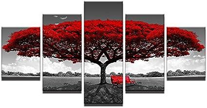 Ruifulex Impresiones sobre Lienzo, 5 Piezas Arte Pinturas de Pared Fondo Sala de Estar Dormitorio Fondo Decoración de Pared, árbol Gris y Rojo 30 * 70 * 2 30 * 80 * 1 sin Marco