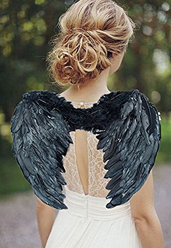 [Avtion Angel Fairy Magic Wings Cosplay Costume Stage Accessory Feather Wings (3545, Black)] (Sexy Fairy Halloween Costumes)