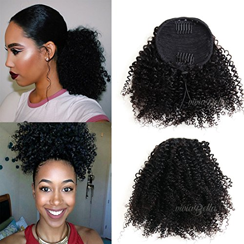 African American Kinky Curly Ponytail Hair Piece Clip ins Brazilian Virgin Hair Top Closure Ponytail (100g 10