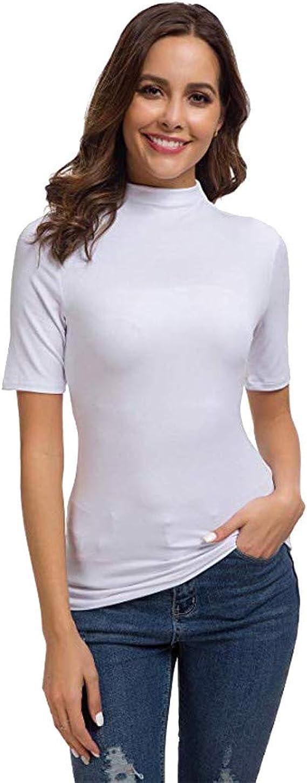 T Shirt à Col Roulé Haut sans Manches Femmes Gilet Debardeur Tops à col Montant Moulant sous Pull Extensible Couleur Uni LianMengMVP
