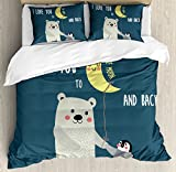I Love You Queen Size Duvet Cover Set by Ambesonne, Teddy Bear and Penguin Best Friends Arctic Lovers under Moon Cartoon, Decorative 3 Piece Bedding Set with 2 Pillow Shams, Slate Blue Grey Yellow