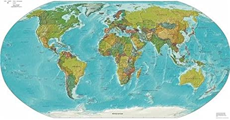 Amazon physical world map glossy poster picture photo maps physical world map glossy poster picture photo maps globe cities earth hills gumiabroncs Image collections