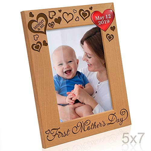 Kate Posh - 2019 First Mother's Day Photo Frame - Engraved Natural Wood Picture Frame - 1st, New Mommy Gifts, First, Mommy & Me Gifts - (5x7-Vertical)
