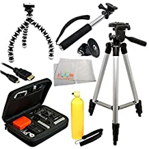 """Deluxe Tripod Accessory Bundle Package for GoPro HERO+, HERO4 Session, HERO4, HERO3+, HERO3, & HERO. Includes 50"""" Tripod, Bendable 6.5-Inch Tripod, GoPro Adapter, Micro HDMI Cable, Rugged Hard Carrying Case, Bobber Handle & Microfiber Cleaning Cloth"""