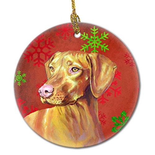 Caroline's Treasures LH9325-CO1 Vizsla Red Snowflake Holiday Christmas Ceramic Ornament, ()