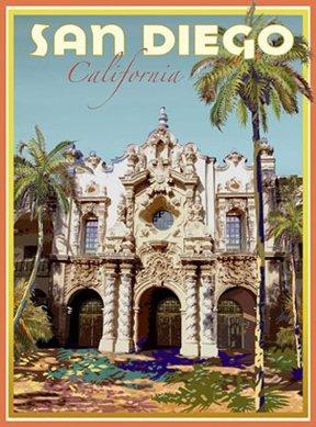Amazon com: San Diego-Art Deco Style Vintage Travel Poster