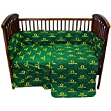 Oregon Ducks 5 Piece Crib Set - Entire Set includes: (1) Reversible Comforter, (1) Bed Skirt , (2) Fitted Sheets and (1) Bumper Pad - Decorate Your Nursery and Save Big By Bundling!