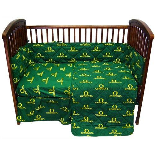 (Oregon Ducks 5 Piece Crib Set and Matching Window Valance/Drape Set (Drape Length 84