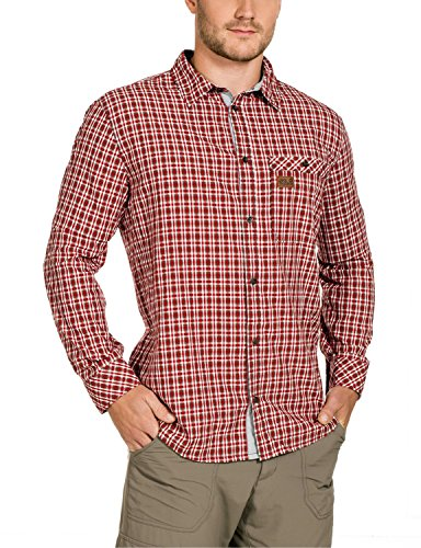 Jack Wolfskin Herren Hemd Dixon Shirt, Indian Red Checks, XXL, 1401661-7286006