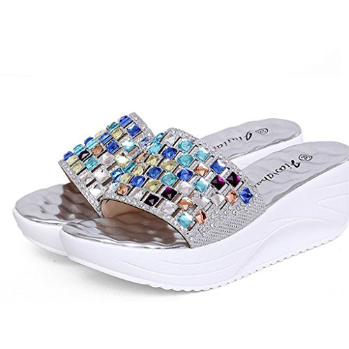 Womens Sandals ,Clode® 1 Pair Color Diamond High-heeled Sandals Waterproof Increased Slippers Womens Summer Sandals Silver