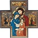 "Devotional GiftsUK Icon Cross. Holy Family Picture 6""x6""(15 x 15 cms) Beautiful Holy Icon of Jesus, Mary and Joseph. Saint Joseph Pray for us. Roman Catholic Icon.Holy Family Icon"
