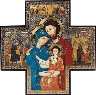 "Devotional Gifts UK Icon Cross. Holy Family Picture 6""x6""(15 x 15 cms) Beautiful Holy Icon of Jesus, Mary and Joseph. Saint Joseph Pray for us. Roman Catholic Icon.Holy Family Icon"