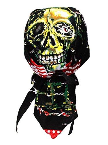 Bandana casquette motif crâne rouge