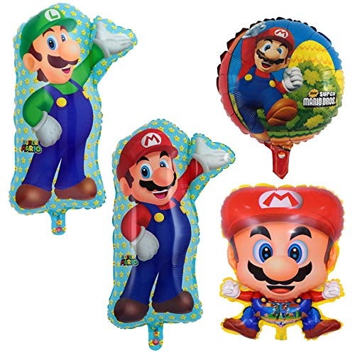 Astra Gourmet Super Mario Bros Foil Balloon - Set of 4 Super Mario Brothers Foil Mylar Balloons Birthday Party Decoration -